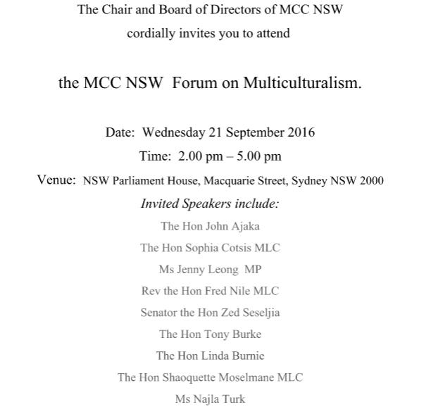 Invitation from MCC